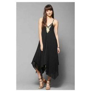 UO Ecote Neima Gauze Coin Trapeze Black Dress